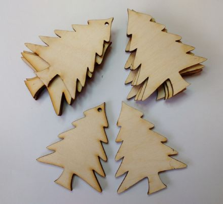 Wooden BIRCH PLY XMAS TREE SHAPES Craft Blank Christmas Plaque 10 PACK 3mm Thick